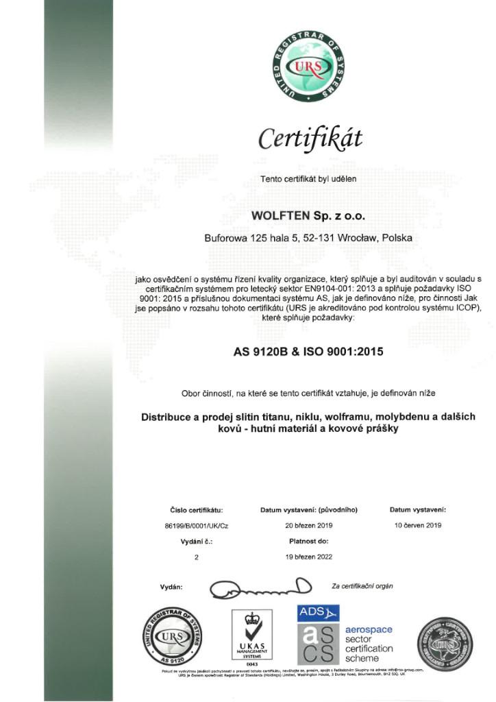 Wolften, certifikat