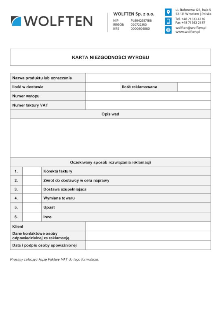 Formularz niezgodności produktu, WOLFTEN