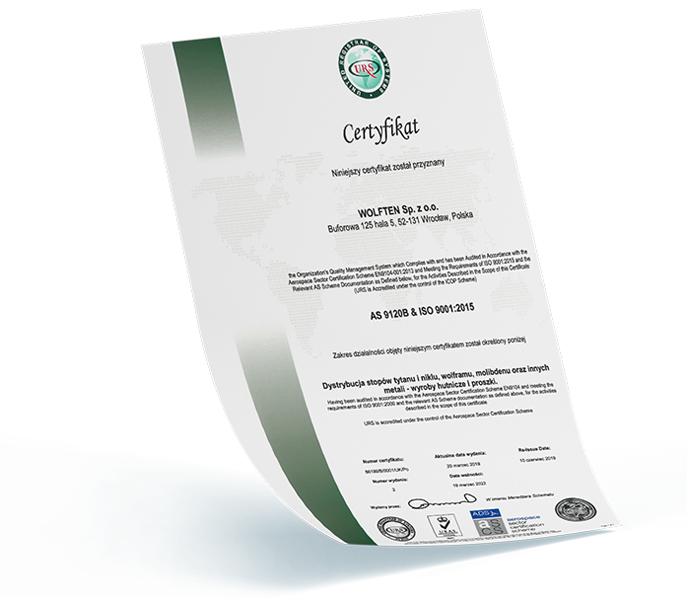Wolften Zertifikat AS 9120B ISO 9001